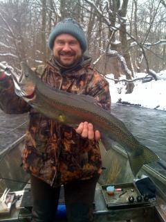 Drift boat fishing the Salmon River in Pulaski NY for steelhead trout