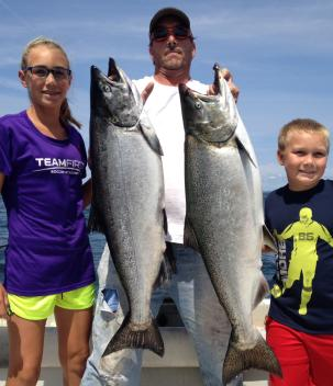 King salmon charter boat fishing on lake ontario near the salmon river, pulaski ny