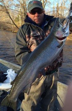 Steelhead fishing on the salmon river in Pulaski NY from a heated drift boat