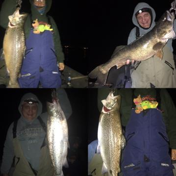 Night fishing for walleye and brown trouts